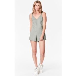 Seek the Label Linen Playsuit with Ruched Straps